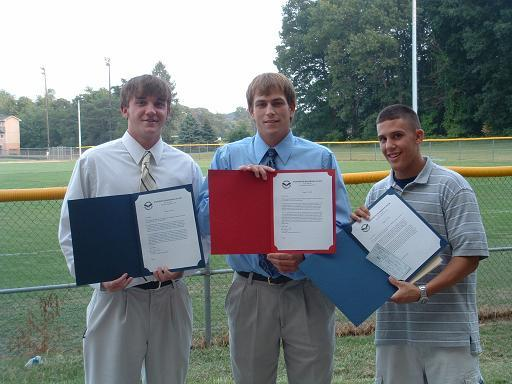 2006.  Scholarship winners Mike Demarest, Bryan Woolford, and Matt Friesen.