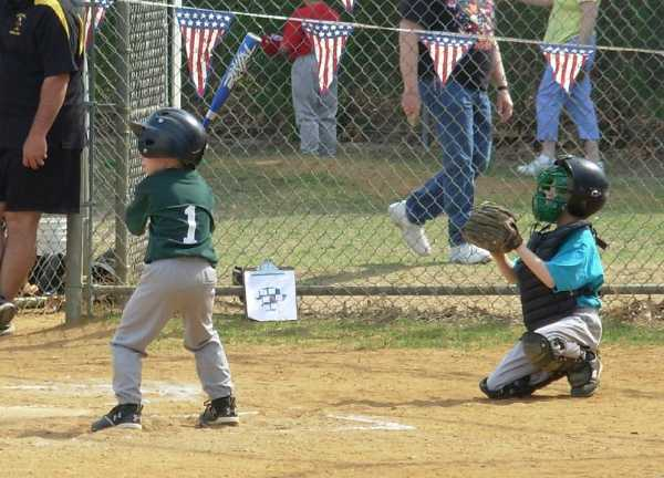 2008.  Mark Sasse of the 8U Athletics readies himself for a pitch in one of the Opening Day exhibition games.