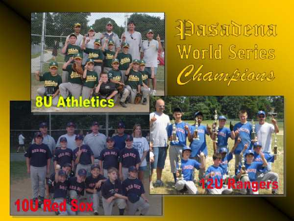 2008.  The 8U Athletics, 10U Red Sox, and 12U Rangers each won their division in the PBC World Series.