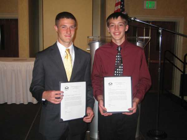 2011.  Scholarship winners Robert Engel and Shane Degreenia at the Northeast High School Sports Award Banquet.