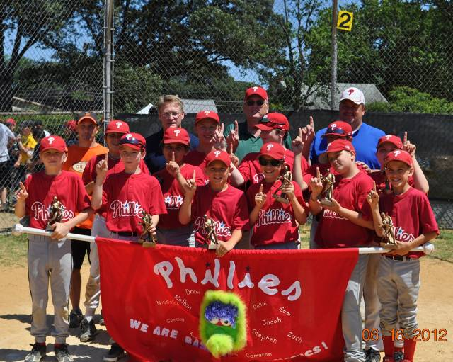 2012.  The 12U Severna Park Phillies went 13-1 in the reguar season, and then came from the loser bracket to win the 12U World Series in an 8-team division of teams from Elvaton, Pasadena and Severna Park.