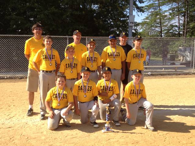 2012.  The Travel 11 year old Eagles finished 19-11 overall in their Chesapeake Baseball Assocation division, and four tournaments: Annapolis Open, Upper Chesapeake, Urbana Invitational, and the CBA championships.