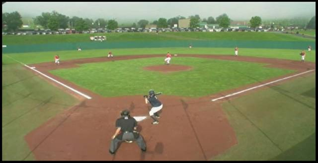 2013. Snapshot off live Internet broadcast of the first game of the Cooperstown Dreams Park tournament in Cooperstown NY for Coach Sacha's travel 12U Eagles (in the field wearing red).