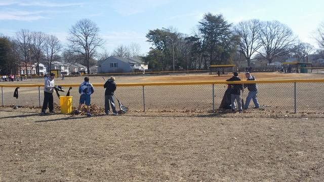 2014.  Cleaning up the field prior to player evaluations.