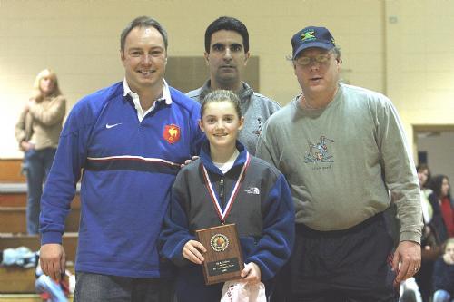 Basking Ridge 6th Grade All Tournament Team    Coach Bob Twillman, Kelly Scott (Basking Ridge Award Recepient), Bill Friedberg, Tournament Director Ron Armellino in the back