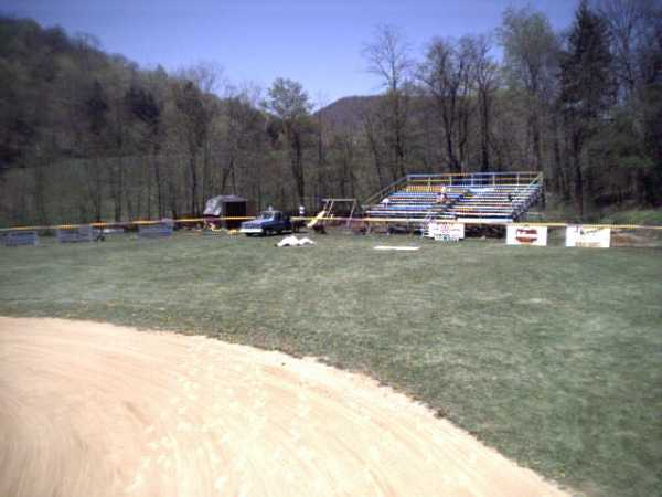 Looking at the outfield bleachers from left field.
