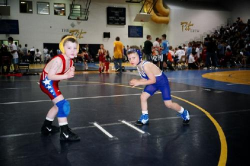 Michael Getting ready to wrestling Josh. Teamm mate at East Side Wrestling 2004.