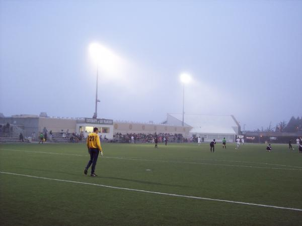 Seals keeper Dan Benton watches as the second half gets underway.