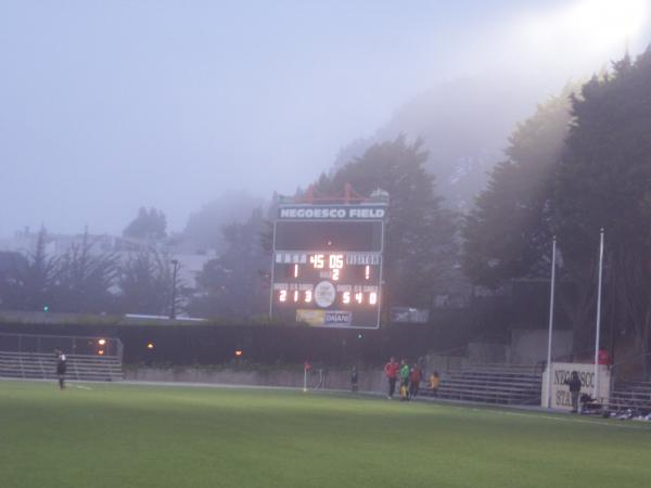 Scoreboard shows tie at the half along with shots, corners, and saves.  Oh yea.  Fog too!