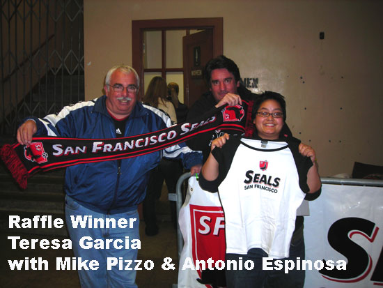 Raffle Winner Teresa Garcia with Mike Pizzo (Seals game day coordinator), and Antonio Espinosa (Marketing Projects Manager)
