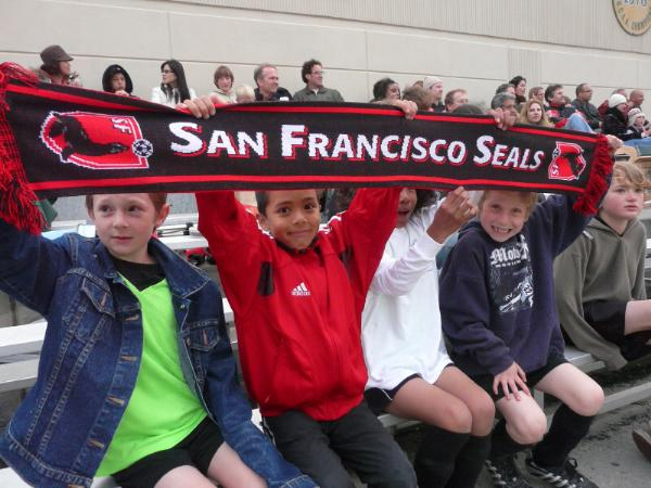 Young fans supporting the Seals!