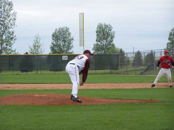 Ben Bestland pitching against the Canes in an exhibition game at Fergus Falls.