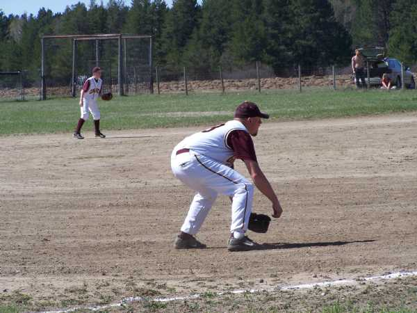 Ben Bestland playing 3rd base against Red Eye.  Its not the hard line drive you have to worry about, its whether or not it hits a rock.