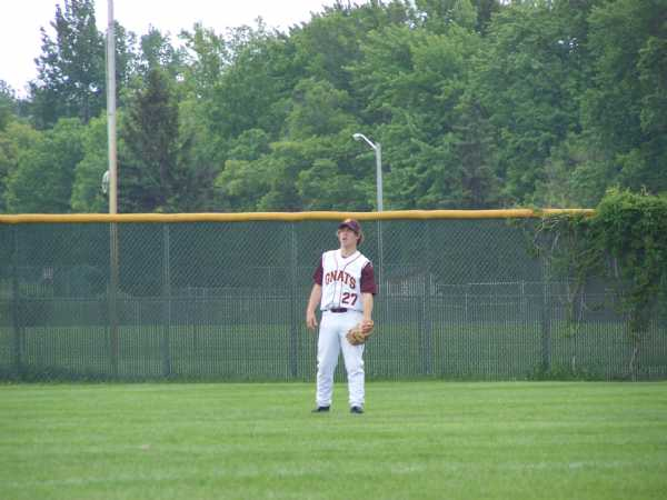 Gnats rookie Taylor Pederson in the outfield in a game against Brainerd.