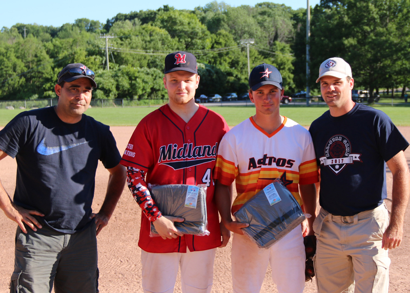 <h4><b>2017 Junior All-Star Game: Most Valuable Player Presentation</b></h4> <h4>Brandon Chisholm (centre left) of 'High Heat' and Nick Bowins of the 'Mad Dogs' were named game most valuable players and received prizes from Midland Indians host organizer Steve Lafreniere and league secretary Scott Anderson. Chisholm managed a base hit, a walk, and a run scored along with two runs batted in. Bowins had three hits, a walk, scored twice and two RBI's.</h4> <h5 align=right>(David Anderson photo)</h5>