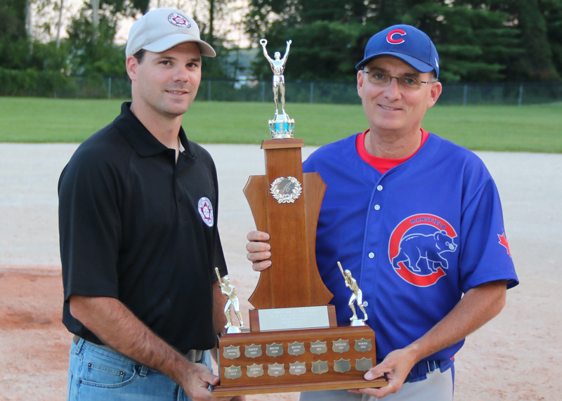 <h4><b>2017 Anderson Trophy Presentation - Junior Division Champions</b></h4> <h4>North Dufferin Baseball League secretary and junior division convenor Scott Anderson presents the Anderson Trophy to coach Dave Metz of the Mansfield Cubs during a post-game presentation Aug. 9.</h4> <h5 align=right>(David Anderson photo)</h5>