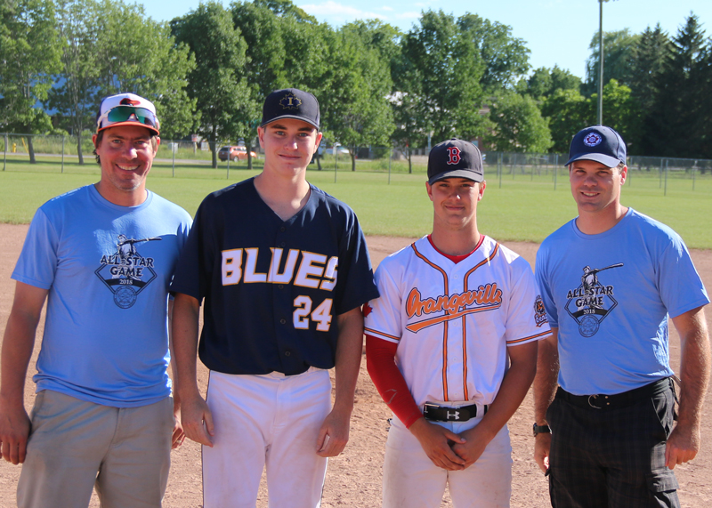 Charlie Jeans (Ivy Blues) of the Expos (centre left) and Ty Doney (Orangeville Bengals) of the Jays were named game most valuable player and are congratulated by host organizer Chris Esson and league secretary Scott Anderson. Jeans went 2 for 2 with 1 run scored.  Doney pitched 2 innings, giving up 1 walk and striking out 4 Expos.