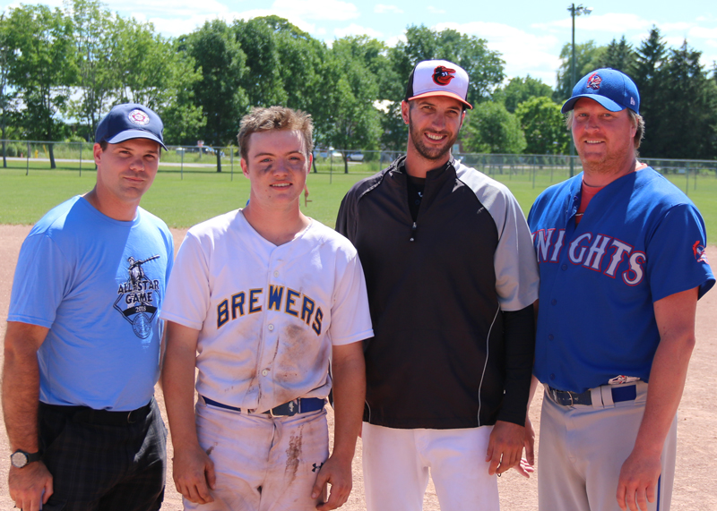 Carter Burnside (Bolton Brewers) of the East Stars (centre left) and Cory Line (Clearview Orioles) of the West Stars were named game most valuable player and are congratulated by league secretary Scott Anderson and president Jesse McIntyre. Burnside went 4 for 5, scored 2 runs, and batted 3 runs in. Line pitched 4 innings, allowed 6 runs on four hits with 2 strikeouts.