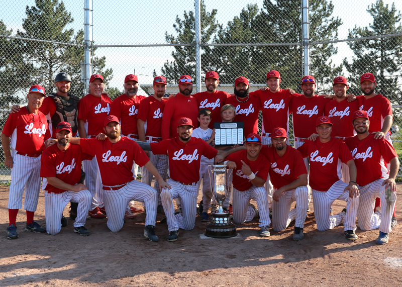 The Ivy Leafs won the North Dufferin Baseball League championship on Sept. 23.  Pictured back row from left are: coach Vance White, James Anderson, Steve Harrison, Sean Hayward, Brett Scott, Jeremy Uylenbroek, Kevin Dumond, Brad Grieveson, Craig Speers, Josh Henson, Chad Watters, Kael Racioppa.<br />Front row, from left: Steve Bowman, Norm Love, Walker Ferri, Phil Tan, Brett Elliott, Dan Forrester, David White.<br />