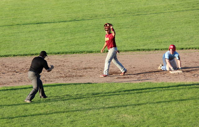 Tyler Crawford gets the tag at second