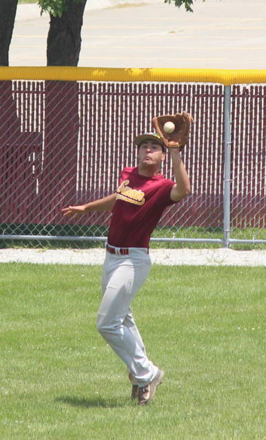 Dan Bowers makes a catch in right field