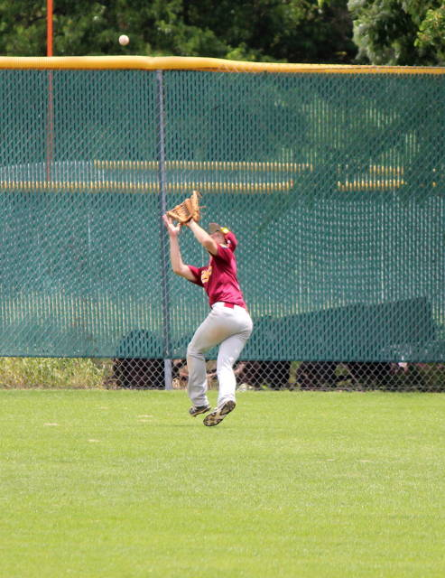 Connor Berg makes the play in center field