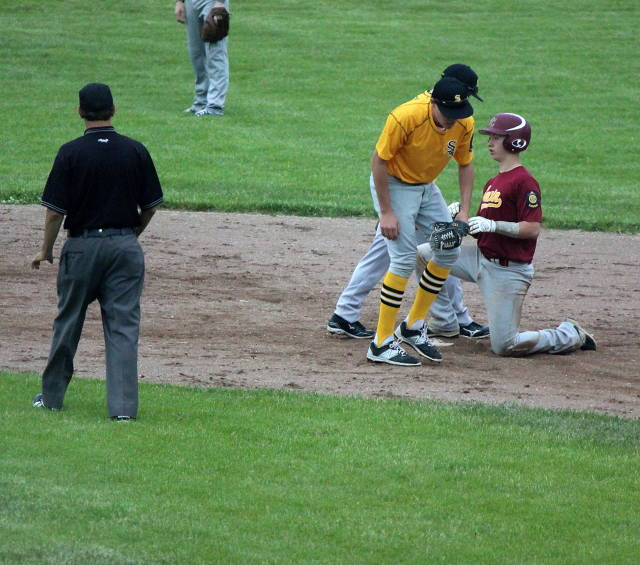 Nolan McGill safe at second