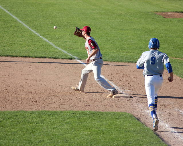 Connor Miller makes the play at first