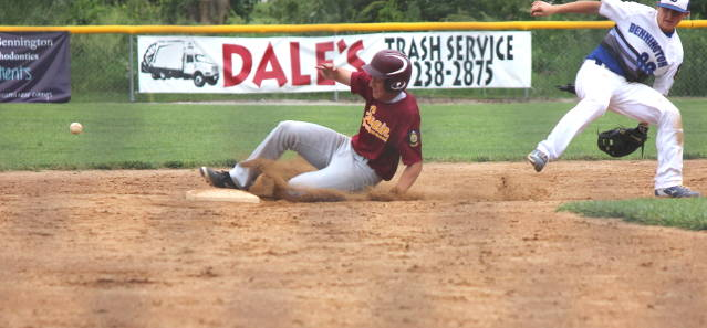 Noah Oswald slides into second