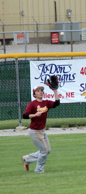 Max Anderson catches the fly ball