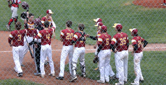 Noah Oswald greeted by Pride after home run