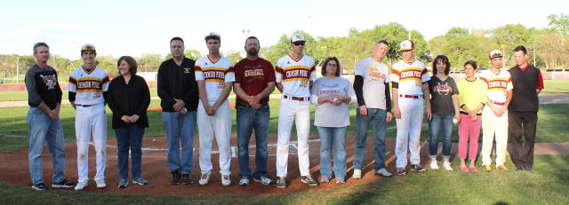 Seniors Nick Iossi, Dan Bowers, Nick Valla, Noah Oswald and Caleb Dempsey with their parents