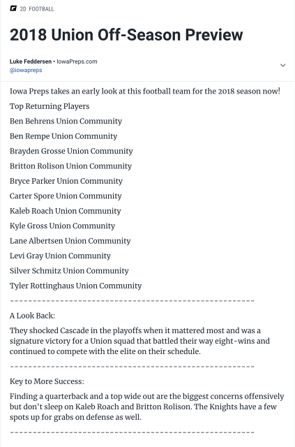 Union Knights Football Team - (La Porte City af6a0fb67b9