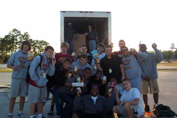 """Building New Traditions for a Stronger Tomorrow""  - Battle of the Cans 2009 with Laney Bucs collected 2397 lbs of food!  GO SCREAMING EAGLES!"