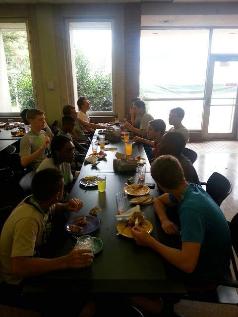 Dinner in cafeteria at UNCC