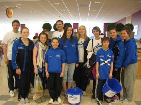 Some helpful volunteers at the bag-packing fundraiser at Morrisons store, Granton, Edinburgh, on Saturday 24th April 2010.
