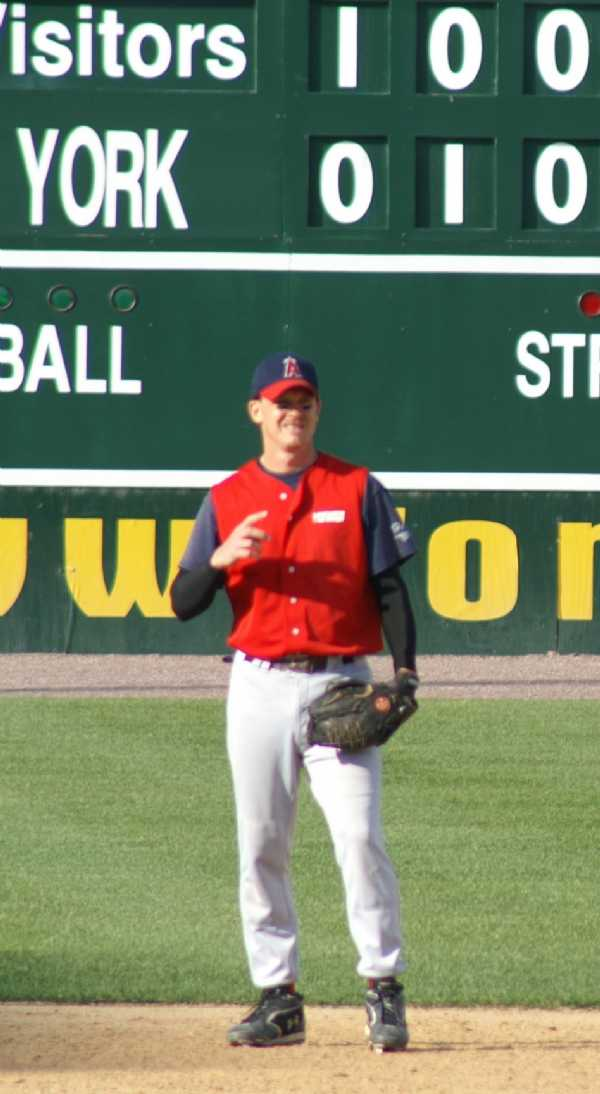 Doug working the game at shortstop