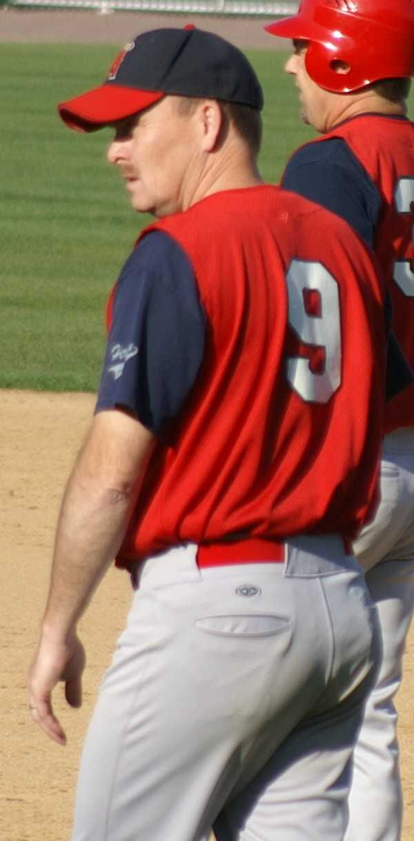 Mike Ragan managing the first base action