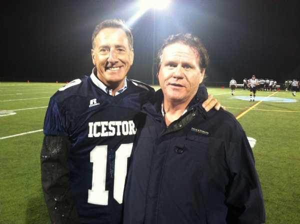 Governor Shumlin with Ice Storm defensive coordinator Chris Allen.