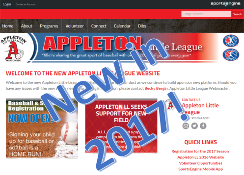 New Appleton Little League web site