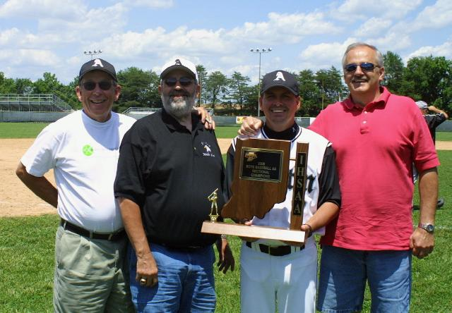 2006 - Former Austin Baseball Coaches celebrate the 2006 2A Baseball Sectional Championship with Coach Jeff Barrett. Left to right: Bill Comer, Dan Deaton, Barrett and Ben Watts. (Photo by Mike Barrett)