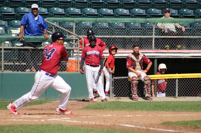 """IronPigs' """"Rookie of the Year"""" Julian Gil.   Manuel Castro waits his turn on deck."""