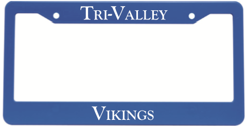 "We will also be selling the license plates holders that say "" Tri-Valley Vikings"" for $5.00"