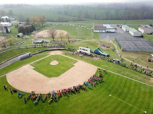 Overhead (drone) view of Opening Ceremony.  Compliments of Dave Day and Keystone Aerial Surveys.