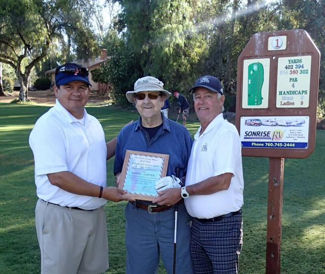 Cliff Bernard (Men's Club President) Harry Carter, Paul Evans (Tournament Chairman)