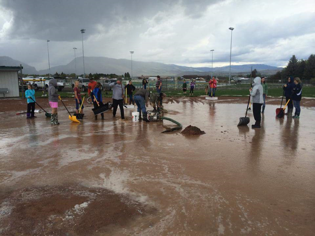 The night before the Heart Mountain Classic Softball Tournament, all hell broke loose. The fields were covered with several inches of rain and hail. Pride Nation coaches, players, and parents all pitched in to shovel hail, pump water, and repair the fields. Fields were ready for play the next morning by 10:00 AM.