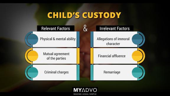 Factors relevant & irrelevant for custody