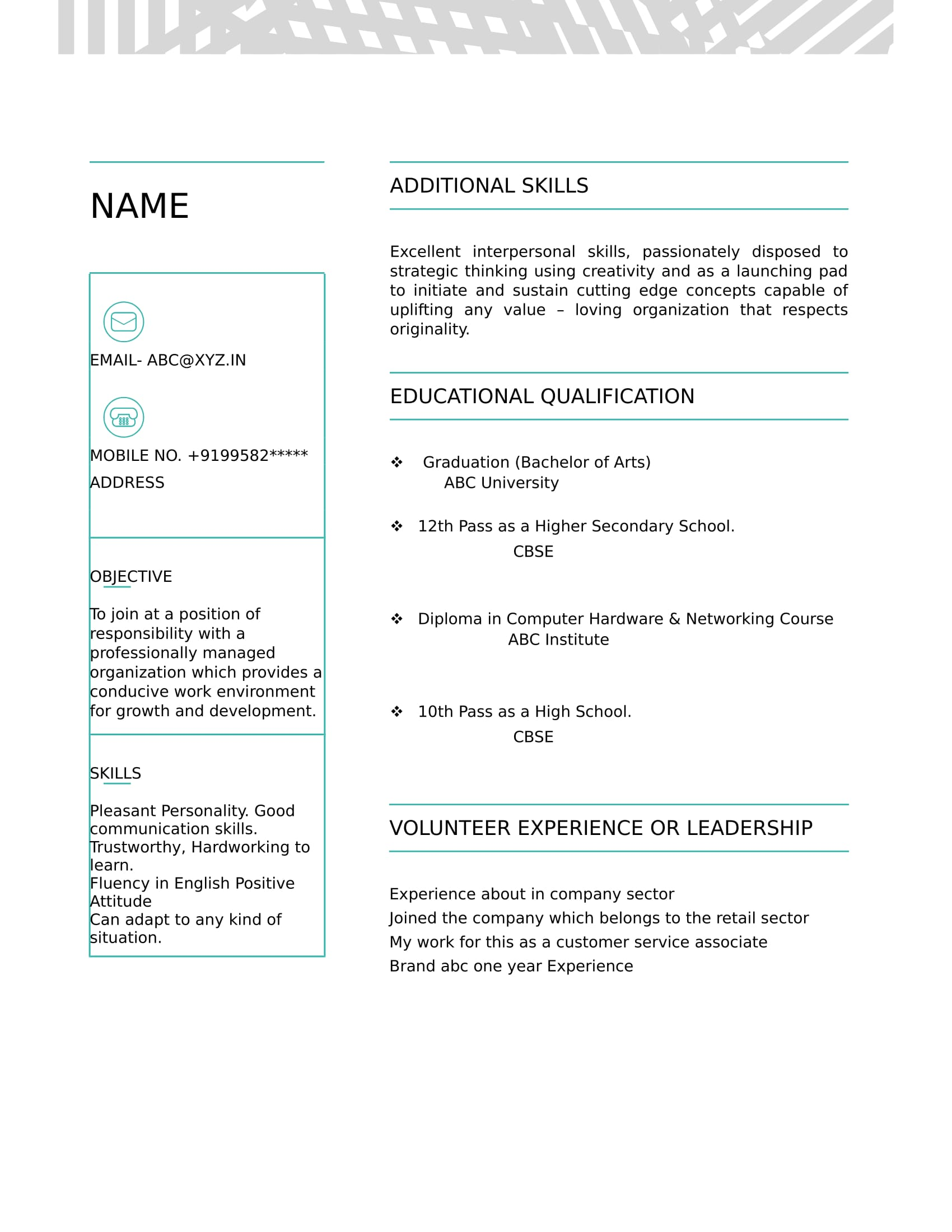 resume templates for ba freshers