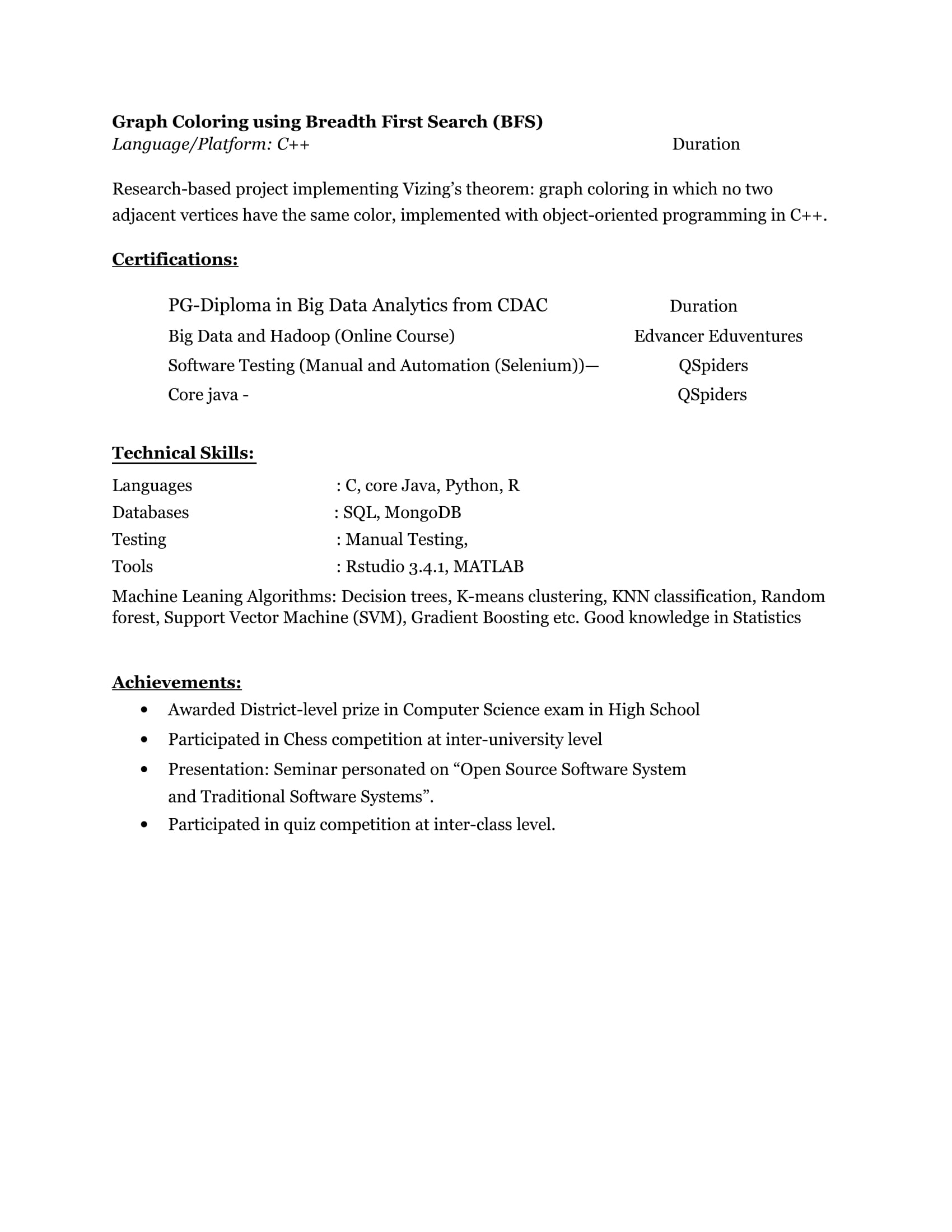 Resume Templates For Big-Data Analytics Freshers - Download Free