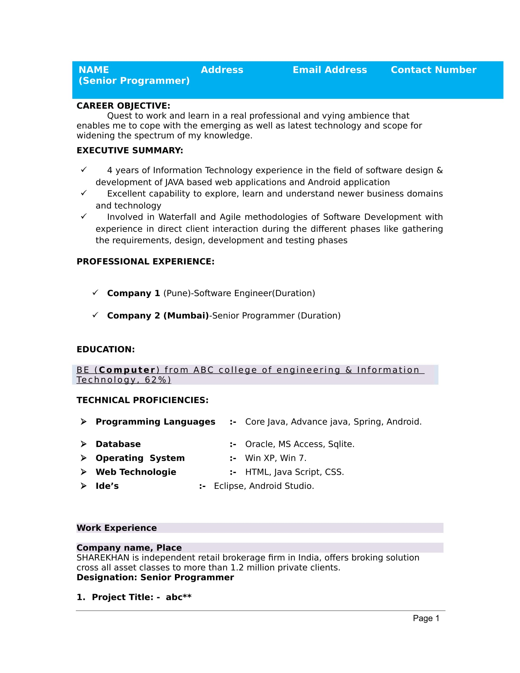 32+ Resume Templates For Freshers - Download Free Word Format